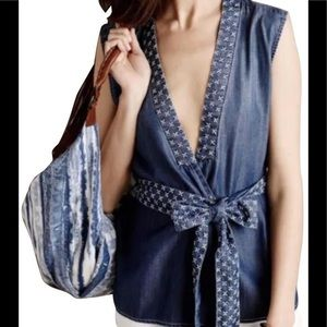 Holding horses denim chambray wrap top for Anthro